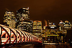 The Peace Bridge in Calgary, Alberta is seen here on a cold night in November 2012.  Photo by Gus Curtis.
