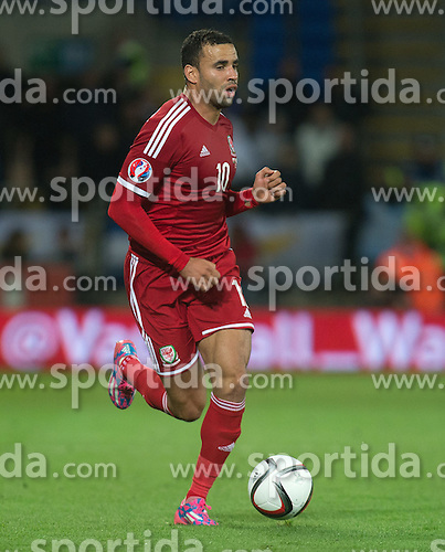 13.10.2014, City Stadium, Cardiff, WAL, UEFA Euro Qualifikation, Wales vs Zypern, Gruppe B, im Bild Wales' xxxx in action against Cyprus // 15054000 during the UEFA EURO 2016 Qualifier group B match between Wales and Cyprus at the City Stadium in Cardiff, Wales on 2014/10/13. EXPA Pictures &copy; 2014, PhotoCredit: EXPA/ Propagandaphoto/ Ian Cook<br /> <br /> *****ATTENTION - OUT of ENG, GBR*****