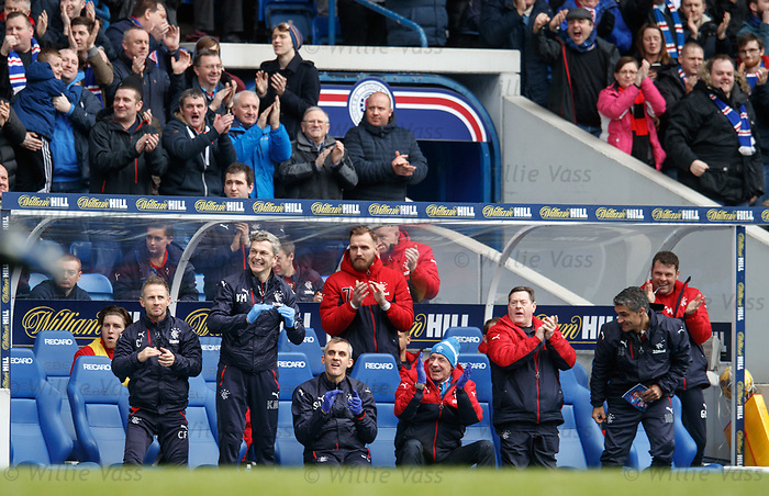 Rangers bench as the team open the scoring