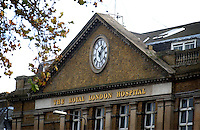The front entrance of the The Royal London Hospital. Founded in 1740, the hospital is part of the Barts and the London NHS Trust and also the rooftop operating base of the Helicopter Emergency Medical Service (HEMS).. Royalty Free