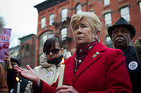 """U.S. Representative Carolyn McCarthy attends the """"Too Many Victims"""" march and rally in Harlem in New York on Sunday, January 8, 2012 on the one year anniversary of the Tucson shooting of  U.S. Representative Gabrielle Giffords and other victims. The event remembered all victims of gun violence with the lighting of candles. (© Frances M. Roberts)"""