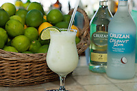 """A Lime in a Coconut"".rum drink with lime rind ground into it.Joe's Rum Hut, Cruz Bay, St John US Virgin Islands"