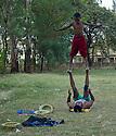 26/01/12. Gondar, Ethiopia. Children training in circus skills under the drection of Nebiyu Alemu, Director of Circus Simen Gonder. Photo credit: Jane Hobson.