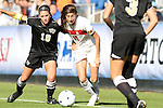 07 November 2010: Wake Forest's Bianca D'Agostino (left) and Maryland's Lydia Hastings (right). The Wake Forest University Demon Deacons defeated the University of Maryland Terrapins 3-1 on penalty kicks after the game ended in a 1-1 tie after overtime at WakeMed Stadium in Cary, North Carolina in the ACC Women's Soccer Tournament championship game.