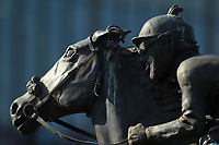 HOT SPRINGS, AR - MARCH 18: Statues behind winners circle before the running of the Essex Stakes at Oaklawn Park on March 18, 2017 in Hot Springs, Arkansas. (Photo by Justin Manning/Eclipse Sportswire/Getty Images)