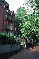 Boston:  Mt. Vernon St., Beacon Hill. These row houses are set back twenty feet or so from the sidewalk.  Photo '88.