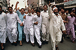 PAKISTAN-10018, Peshawar, Pakistan, 1997. A group of men in a demonstration. <br />