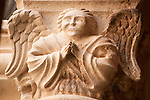 An angel on a column capital in the Dominican Monastery and Museum in Dubrovnik, Croatia.