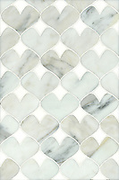 Hearts, a natural stone waterjet mosaic shown in Calacatta Tia and Thassos, is part of the Erin Adams Collection for New Ravenna Mosaics.<br />