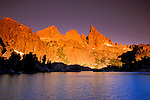Dawn light on the Minarets from Minaret Lake, Ansel Adams Wilderness, Sierra Nevada Mountains, California