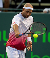 James Blake (USA) against Thomaz Bellucci (BRA) in the second round of the men's singles. Bellucci beat Blake 3-6 6-1 6-2..International Tennis - 2010 ATP World Tour - Sony Ericsson Open - Crandon Park Tennis Center - Key Biscayne - Miami - Florida - USA - Fri 26 Mar 2010..© Frey - Amn Images, Level 1, Barry House, 20-22 Worple Road, London, SW19 4DH, UK .Tel - +44 20 8947 0100.Fax -+44 20 8947 0117