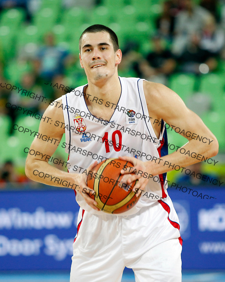 Nikola Kalinic of Serbia in action during European basketball championship Eurobasket 2013, round 2, group E  basketball game between Serbia and France in Stozice Arena in Ljubljana, Slovenia, on September 15. 2013. (credit: Pedja Milosavljevic  / thepedja@gmail.com / +381641260959)