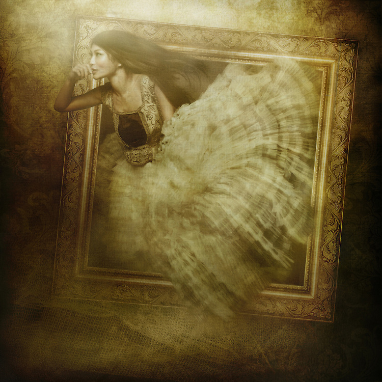 Conceptual image of a young asian woman with long hair appearing through a large golden picture frame
