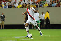 Midfielder Vincent Kompany dribbles through a change of field. The 2010 Atlanta International Soccer Challenge was held, Wednesday, July 28, at the Georgia Dome, featuring a match between Club America and Manchester City. After regulation time ended 1-1, Manchester City was awarded the victory, winning 4-1, in penalty kicks.
