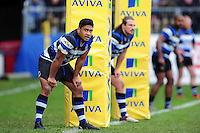 Ben Tapuai and the rest of the Bath Rugby back line look on in defence. Aviva Premiership match, between Bath Rugby and Saracens on December 3, 2016 at the Recreation Ground in Bath, England. Photo by: Patrick Khachfe / Onside Images
