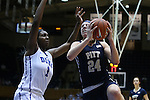 29 January 2015: Pitt's Monica Wignot (24) and Duke's Elizabeth Williams (1). The Duke University Blue Devils hosted the University of Pittsburgh Panthers at Cameron Indoor Stadium in Durham, North Carolina in a 2014-15 NCAA Division I Women's Basketball game. Duke won the game 62-45.