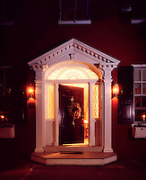 welcome entrance porch residential bed and breakfast style home craft items open door warmth holiday wreath