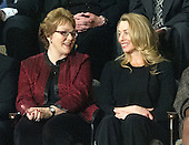 Debbie Bosanek, Assistant, Berkshire Hathaway, left, and Laurene Powell Jobs, Founder and Chair, Emerson Collective, share some thoughts prior to United States President Barack Obama delivering the State of the Union Address in the U.S. House Chamber in the U.S. Capitol in Washington, D.C. on Tuesday, January 24, 2012..Credit: Ron Sachs / CNP.(RESTRICTION: NO New York or New Jersey Newspapers or newspapers within a 75 mile radius of New York City)