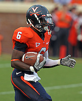 Sept. 3, 2011 - Charlottesville, Virginia - USA; Virginia Cavaliers wide receiver Darius Jennings (6) returns the ball during an NCAA football game against William & Mary at Scott Stadium. Virginia won 40-3. (Credit Image: © Andrew Shurtleff