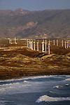 Wind turbines and the sea, Poris de Abona, Tenerife, Canary Islands, Spain