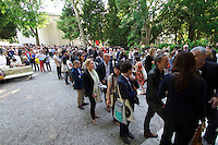 55th Art Biennale in Venice - The Encyclopedic Palace (Il Palazzo Enciclopedico).<br /> Giardini.<br /> Queue in front of the German Pavilion.