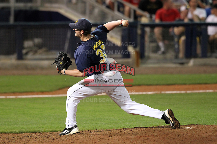 Michigan Wolverines pitcher Kevin Vangheluwe #32 during a game against the Ohio State Buckeyes at the Charlotte County Sports Park on March 2, 2012 in Port Charlotte, Florida.  Ohio State defeated Michigan 9-4.  (Mike Janes/Four Seam Images)