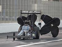 Nov 12, 2016; Pomona, CA, USA; NHRA top fuel driver Tripp Tatum during qualifying for the Auto Club Finals at Auto Club Raceway at Pomona. Mandatory Credit: Mark J. Rebilas-USA TODAY Sports
