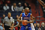 SMU's Shawn Williams (2) is defended by Ole Miss' Terrance Henry (1) at the C.M. &quot;Tad&quot; Smith Coliseum in Oxford, Miss. on Tuesday, January 3, 2012. Ole Miss won 50-48.