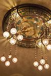 Art Nouveau chandelier inside the American Bar in Municipal House (Czech: Obecni Dum), a stunning art nouveau landmark civic building in Prague, Czech Republic