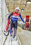 5 December 2014: Thor Haug Norbech, sliding for Norway, walks off the track after his first run, ending the day with combined 2-run time of 2:03.426 in the Men's Competition at the Viessmann Luge World Cup, at the Olympic Sports Track in Lake Placid, New York, USA. Mandatory Credit: Ed Wolfstein Photo *** RAW (NEF) Image File Available ***