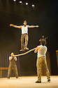 London, UK. 11.07.2013. Southbank Centre presents TIMBER! by Cirque Alfonse. Three generations of Quebecois circus family premiere their UK debut show. Picture shows: Matias Salmenaho, Jonathan Casaubon, Antoine Carabinier-Lepine and David Simard (Ukelele). Photograph © Jane Hobson.