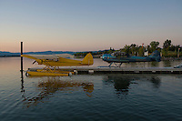 Cessna 195 and PiperSuper Cub docked at the Sky Lark Resort, Seaplane Splash-In, Lakeport, California, Lake County, California