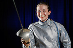 23 MAR 2012:  Rebecca Ward of Duke poses after beating Monica Aksamit of Penn State in the saber competition of the Division I Women's Fencing Championship held at St. John Arena on the Ohio State University campus in Columbus, OH. Ward defeated Aksamit 15-12 to claim the national title.  Jay LaPrete/ NCAA Photos