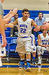 22 November 2015: Yeshiva University Maccabee Guard Judah Cohen, a Freshman from Englewood, NJ, is introduced prior to a game against the Hunter College Hawks at the Max Stern Athletic Center in New York, NY. The Maccabees defeated the Hawks 81-71 in non-conference play, for their second win of the season. Mandatory Credit: Ed Wolfstein Photo *** RAW (NEF) Image File Available ***