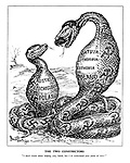 """The Two Constrictors. """"I don't know about helping you, Adolf, but I do understand your point of view."""" (Hitler and Stalin as snakes having swallowed Austria, Czechoslovakia, Poland, Latvia, Lithuania and Estonia between themselves)"""