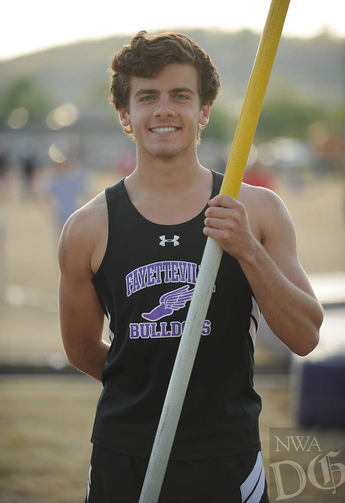 NWA Democrat-Gazette/ANDY SHUPE<br /> Fayetteville senior Hootie Hurley signed a letter of intent to compete for Oklahoma State. Friday, April 14, 2017.
