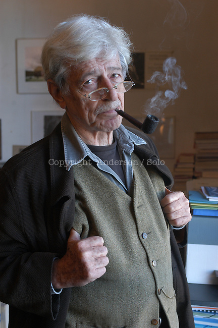 French author and publisher Hubert Nyssen in his office in Arles, France. Founder of Actes Sud publishing.