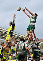 Dom Barrow of Leicester Tigers rises high to win lineout ball. Aviva Premiership match, between Leicester Tigers and Sale Sharks on February 6, 2016 at Welford Road in Leicester, England. Photo by: Patrick Khachfe / JMP