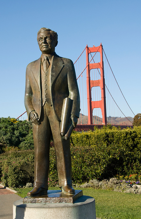 California, San Francisco: Statue of Bridge Builder Joseph Strauss at South End visitor area of Golden Gate Bridge..Photo #: 1-casanf76404.Photo © Lee Foster 2008