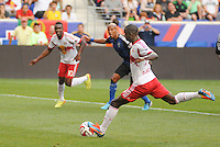 HARRISON, NJ - Saturday July 19, 2014: Bradley Wright-Phillips continues his MLS scoring tirade with another goal off a penalty kick.  The New York Red Bulls take on the San Jose Earthquakes at Red Bull Arena in regular season MLS play.