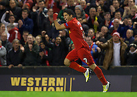 LIVERPOOL, ENGLAND - Thursday, October 4, 2012: Liverpool's Luis Alberto Suarez Diaz celebrates scoring the second goal against Udinese Calcio during the UEFA Europa League Group A match at Anfield. (Pic by David Rawcliffe/Propaganda)