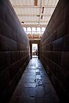 A stone hallway in the Qorikancha in Cusco Peru