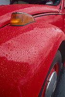 WATER BEADS ON WAXED SURFACE OF CAR<br /> Car Wax Containing PDMS (Polydimethylsiloxane)