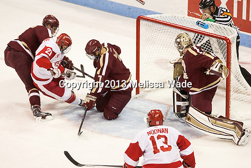 The visiting Boston College Eagles defeated the Boston University Terriers 5-1 on Friday, November 8, 2013 at Agganis Arena in Boston, Massachusetts.