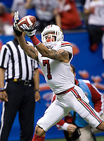 Louisville wide receiver Damian Copeland catches a pass during 79th Sugar Bowl game against Florida at Mercedes-Benz Superdome in New Orleans, Louisiana on January 2nd, 2013.   Louisville Cardinals defeated Florida Gators, 33-23.