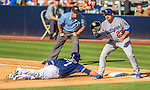 22 June 2013: Los Angeles Dodgers first baseman Adrian Gonzalez catches a pick-off attempt on Chase Headley during a game against the San Diego Padres at Petco Park in San Diego, California. The Dodgers defeated the Padres 6-1 in the third game of their 4-game Divisional Series. Mandatory Credit: Ed Wolfstein Photo *** RAW (NEF) Image File Available ***