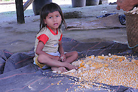 Quichua child helping to husk corn under her home in small jungle village of eastern Ecuador.