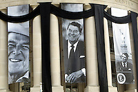 June 14, 2004; Washington, DC, USA; Exterior view of the Ronald Reagan Building & International Trade Center along Pennsylvania Avenue. Black and White Photographs of Mr. Ronald Reagan are placed on large banners next to black draped cloth on the outside of the building.
