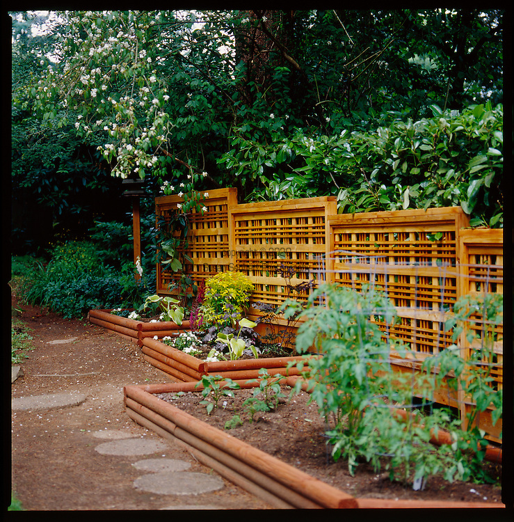 decorative wooden fence in back yard