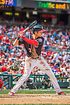 11 September 2016: Washington Nationals outfielder and Baseball America top prospect Trea Turner in action against the Philadelphia Phillies at Nationals Park in Washington, DC. The Nationals edged out the Phillies 3-2 to take the rubber match of their 3-game series. Mandatory Credit: Ed Wolfstein Photo *** RAW (NEF) Image File Available ***